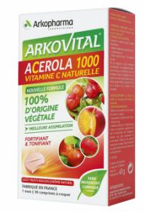 acérola 1000 Vitamine C 100% naturelle comprimés à croquer boite de 30